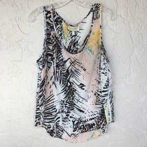 YUMI KIM Silk Palm Print Sleeveless Blouse Size L